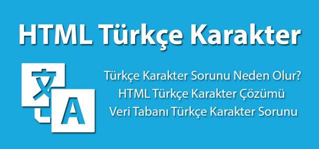HTML Türkçe Karakter