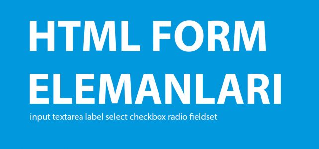 HTML Form Elemanları