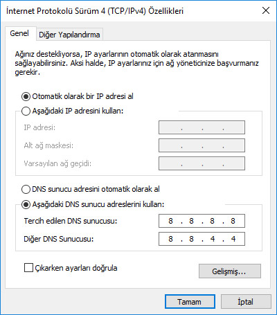 DNS Ayarları Değiştirme