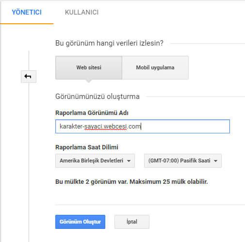 Google Analytics Görünüm Oluşturma