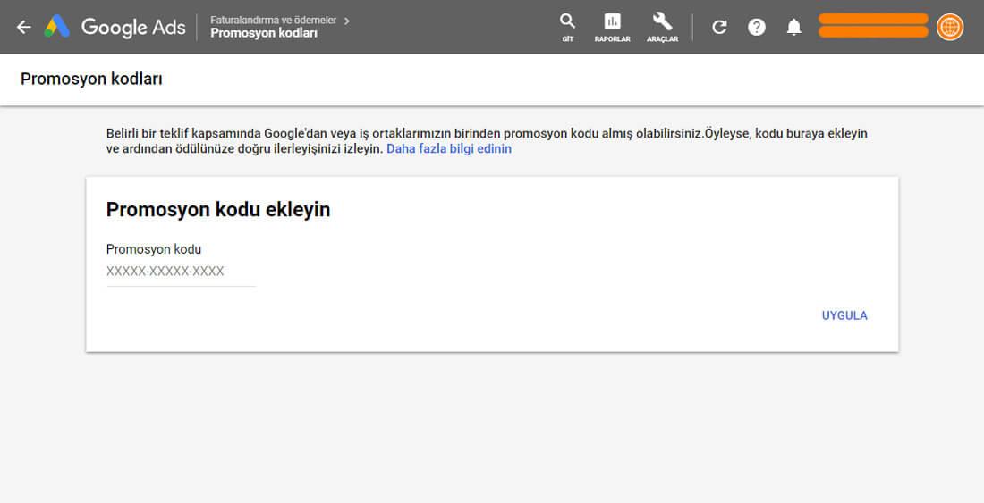 Google 25TL Harca 100TL Kazan